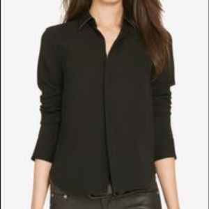 Polo by Ralph Lauren Faux Leather Collar Top